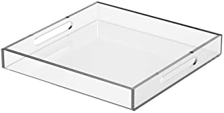 NIUBEE Acrylic Serving Tray 15x15 Inches -Spill Proof- Clear Decorative Tray Organiser for Ottoman Coffee Table Countertop...