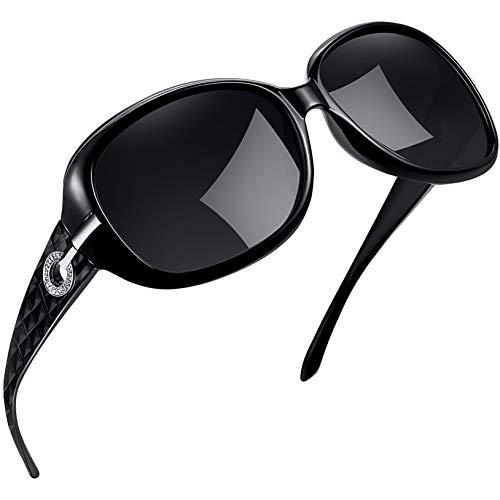 Joopin Gafas de Sol Mujer Moda Polarizadas Protección UV400 de Gran Tamaño Gafas de Sol Señoras (Negro)