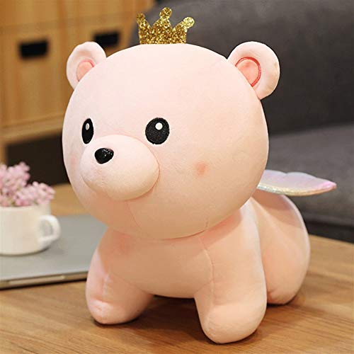 HOUMEL Cute Stuffed Plush Bear With Wings Toy Mini Comfort Plush Pillow Doll Cushion For Chrismas Birthday Gift Bedroom Living Room 296 (Color : Pink, Size : 60cm)