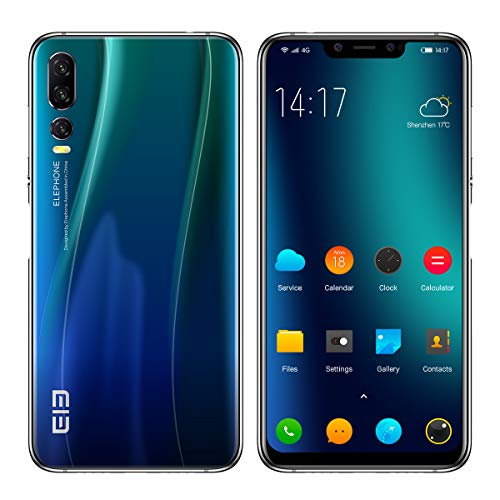 ELEPHONE A5 Smartphone Libre - 6.18''FHD + súper-Vista Pantalla Ultra Delgada, teléfono móvil con Android 8.1, Helio P60 6GB + 128GB, AI 5 cámara (cámara Frontal de 20MP + 2MP) - Azul Crepúsculo