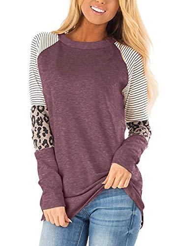 OMZIN - Camiseta informal para mujer, transpirable, camiseta informal, S-5XL Manga larga morado/rojo. XL