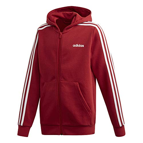 adidas Performance Essentials 3 Stripes Kapuzenjacke Kinder rot/weiß, 164