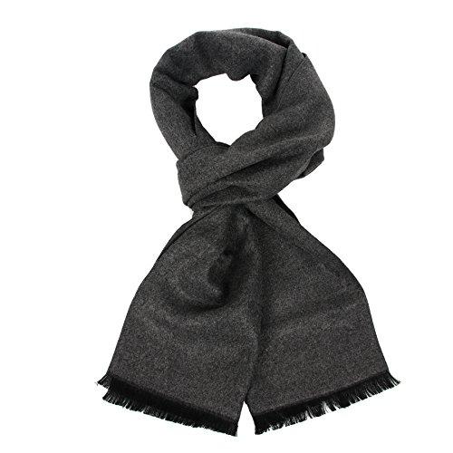 Langer Baumwollschal für Herren, warme Fransen, kariert, mit luxuriöser Geschenkbox Gr. Einheitsgröße, dunkelgrau