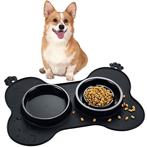 Double Pet Dog Slow Feeder Bowl Bloat Stop Pet Bowl Anti-Choking Puppy Food and Water Feeder with Non-Skid Silicone Mat Plastic Water Bowl for Dogs Cats Pets (Black)