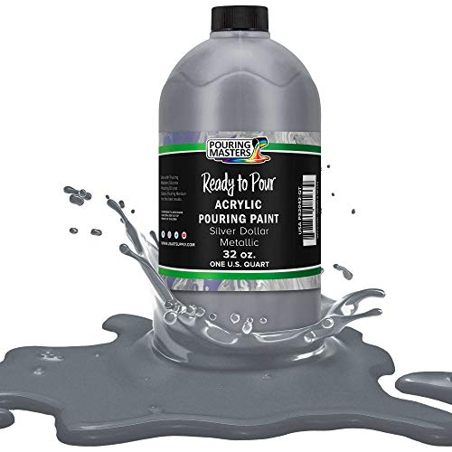 Pouring Masters Silver Dollar Metallic Acrylic Ready to Pour Pouring Paint – Premium 32-Ounce Pre-Mixed Water-Based - for Canvas, Wood, Paper, Crafts, Tile, Rocks and More