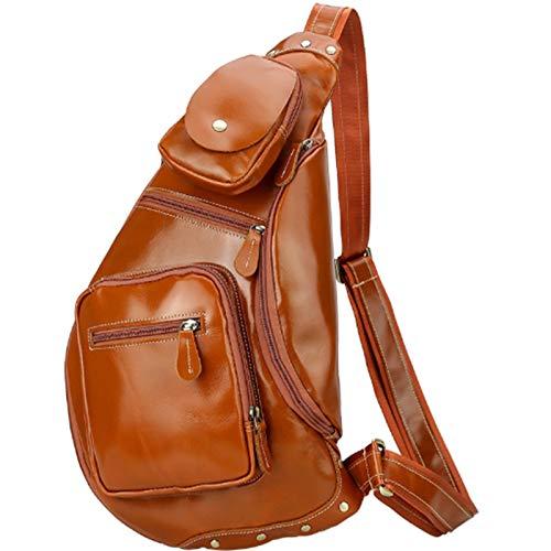 Pinle Bolsa de Crossbody Hombres Hombres Cuero Genuino Sling Bolsa Bolsa de Hombro Mochila Messenger Bag Cofre Hombro Bolso Multipuso Anti Robo Business Casual Outdoor Viajes (Color : Brown)
