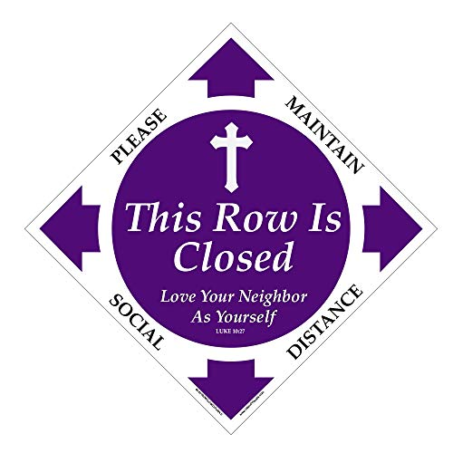 6ft Distance Marker for Church Pew or Row - Pew Closed - This Row is Closed for Social Distancing (Free Gaiter Logo Facemask Included - God Bless America) (8' Decal, 12 Pack)