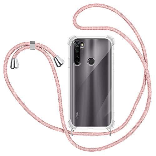 Funda con Cuerda para Xiaomi Redmi Note 8T, Carcasa Transparente TPU Suave Silicona Case con Correa Colgante Ajustable Collar Correa de Cuello Cadena Cordón para Xiaomi Redmi Note 8T - Oro Rosa