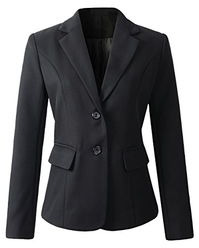 Womens Formal 2 Button Blazer Jacket (D918 Black, M)