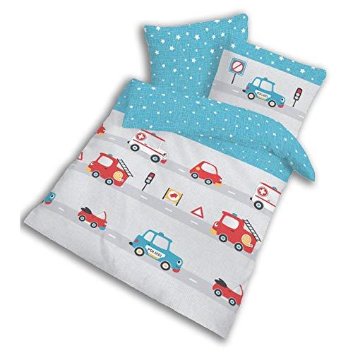 POLIZEI Babybettwäsche - Kinderbettwäsche für Jungen Feuerwehr & Fahrzeuge - 2 teilig Kissenbezug 40x60 + Bettbezug 100x135 cm - 100% Baumwolle