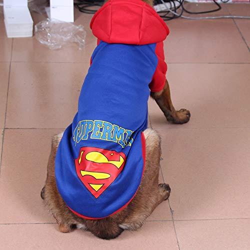 HKHJN Grande Cane, Cane, Maglione in Pile, Lana d'oro, Husky, Labrador, Vestiti Grandi Cani (Color : cap Superman Blue, Size : XXL)