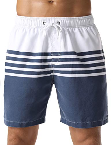 Nonwe Men's Swim Shorts Stripe Casual Fit Soft Washed Board Shorts White 32