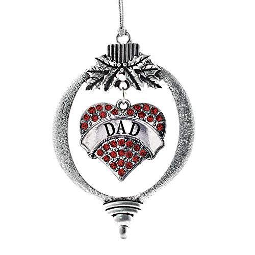 Inspired Silver - Dad Red Charm Ornament - Silver Pave Heart Charm Holiday Ornaments with Cubic Zirconia Jewelry