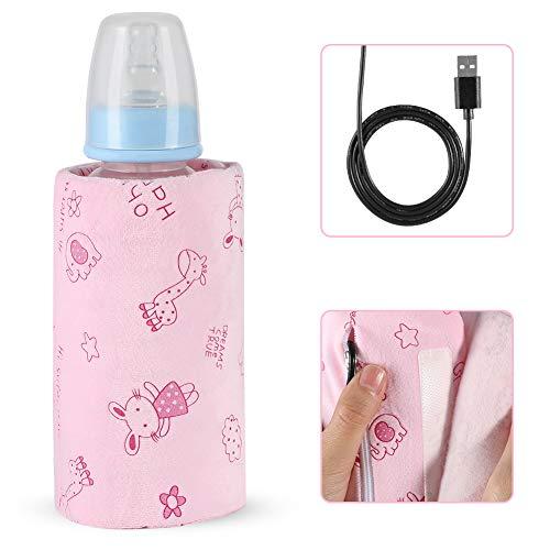 USB Out Portable Heizung Flaschenwärmer, Flasche Isolierung Flasche Flaschenwärmer Heizung Aufbewahrungstasche für Reisen im Freien, USB Wiederaufladbar(Rosa)