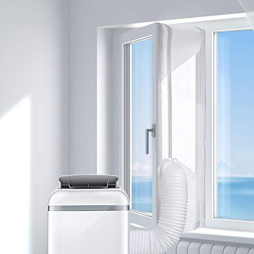 AGPTEK Sello de ventana de 300 cm para acondicionador de aire portátil, 118 pulgadas de unidad de CA móvil, sellado de tela suave, para el aire caliente con cremallera y cierre adhesivo, sin necesidad de agujeros para la ventana inclinable
