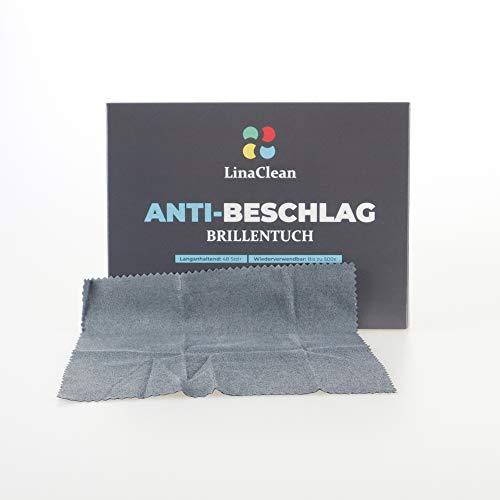 LinaClean Anti-Beschlag Tuch feucht,15x15cm für Brillen, Gläser, Linsen, wiederverwendbar, anti-fog Brillentuch freie Sicht