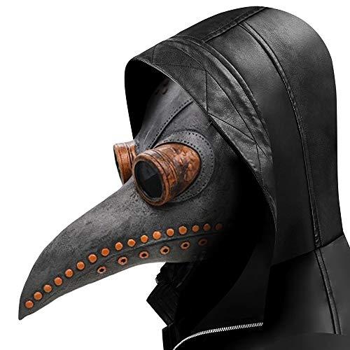 Lifreer Máscara de pájaro de la plaga Doctor para fiesta de Halloween, máscara de látex suave punk cosplay pájaro pico máscara ajustable para Halloween fiesta juegos de rol accesorios (gris)