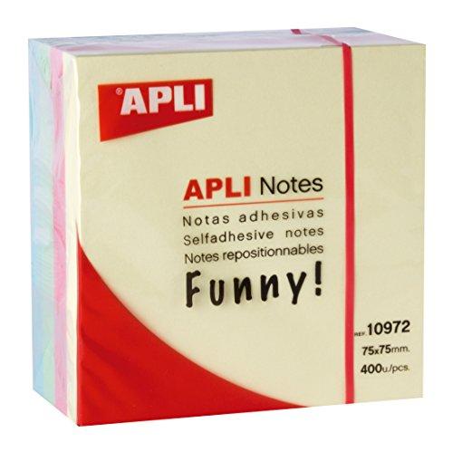 """""""APLI 10972 - Notas adhesivas FUNNY 75 x 75 mm cubo de 400 hojas 4 colores surtidos pastel """""""