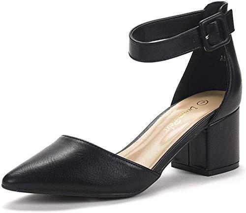 DREAM PAIRS Women's Annee Black Pu Low Heel Pump Shoes - 10 M US