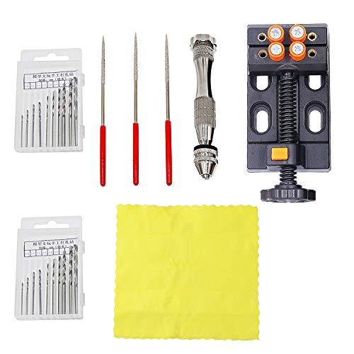 NIUPIKA Pin Vise Small Hand Drill Kit with Twist Drills Bits Pearl Drilling Holes Tool Kit with Tools Accessories Mini Bench Vice for Jewelry Walnut Nuclear Watch Repairing Carving