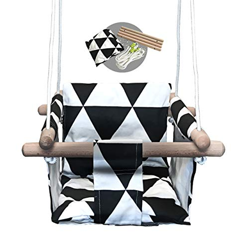 Baby Modern Hammock Swing   Swing for Babies with Warm Colors Canvas Design   Wood Frame and Polyester Fabric   Safe and Sturdy Set   Swing Seat Design for Small Toddlers   Hanging Baby Swing Chair