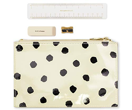 Kate Spade New York Black/White Pencil Pouch with Ruler, Eraser, & Sharpener, Leatherette Travel Zipper Pouch/Clutch, Spotty Dot