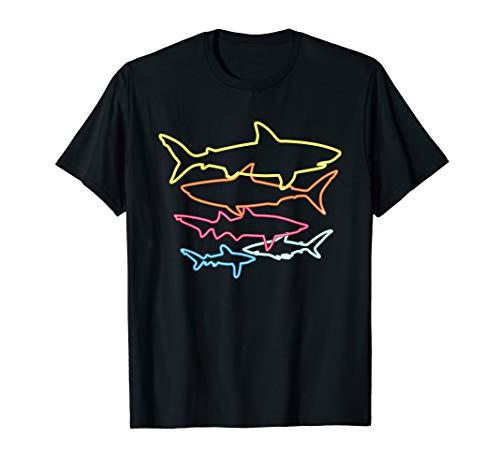 Retro 80s Shark Shirt Sharks Party Gift Idea Kids Women Men T-Shirt
