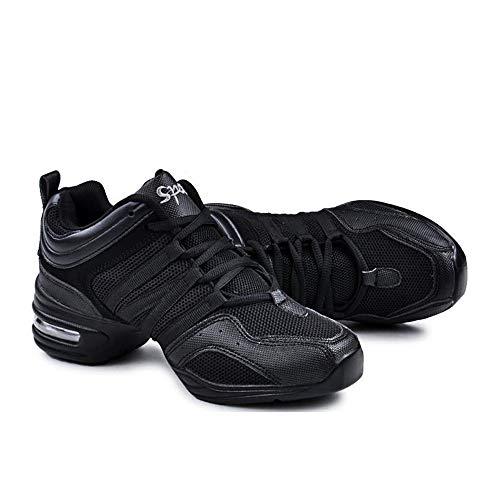 Padgene Zapatillas de Jazz para Mujer, con Cordones, cojín Transpirable para Mujer, Suela Dividida, Zapatillas de Danza de Marcha, Deportivas (Negro Clásico, 36)
