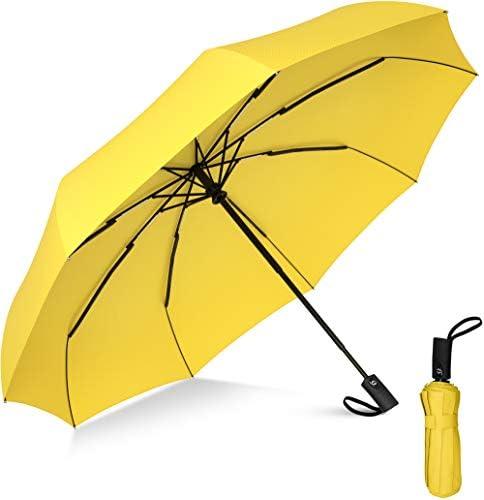 Compact Travel Umbrella - Windproof Umbrella - 9 Rib Reinforced Canopy - Auto Open and Close Button