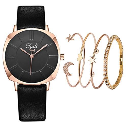 Relojes Para Mujer Reloj de pulsera de mujer sencilla correa de cuero casual reloj de cuarzo relojes de moda regalos para el nuevo año Relojes Decorativos Casuales Para Niñas Damas ( Color : Black )