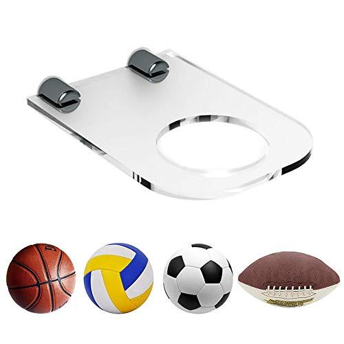 HAI + Ballhalter Display Halter, Acryl Wandhalterung Ball Hanger Aufbewahrungsständer, unsichtbares klares Regal, Ballhalter Display Rack, für Fußball, Basketball, Volleyball, Rugby