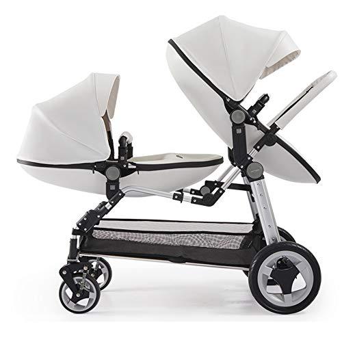 Baby trolley Doppelkinderwagen, Doppelkleinkind und Kinderwagen, mehrere Sitzkonfigurationen, einfach zusammenklappbarer Tragekarren, stoßfeste Luxuskinderwagen-Kindersitzkombination, weiß und braun
