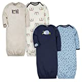 Gerber Baby 4-Pack Gown, Tiger/Hedgehog, 0-6 Months
