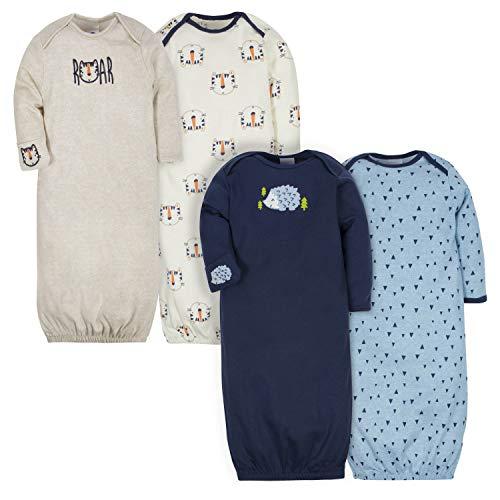 Gerber Baby Boys' 4 Pack Gowns, Tiger/Hedgehog, 0-6 Months