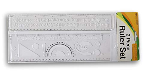 Transparent Two-Piece Ruler Stencil Set - Stencils Include Alphabet and Shapes