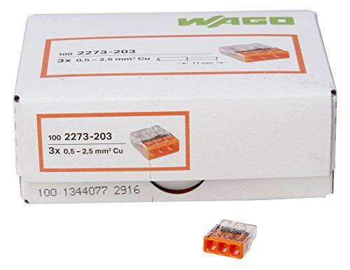 Wago Kopp 33346421 COMPACT-Verbindungsdosenklemme 3-Leiter-Klemme 0,5-2,5 mm² Inhalt 100 Stück, Transparent/orange