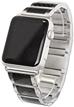 iBand Pro Stainless Steel band with black carbon fiber picture inlay and magnetic closing clasp Fits 42mm Apple watch