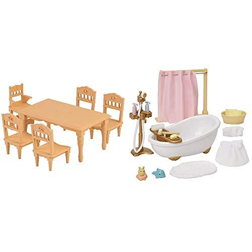 シルバニアファミリー 家具 ダイニングテーブルセット カ-421 & シルバニアファミリー 家具 おふろセット カ-605【セット買い】