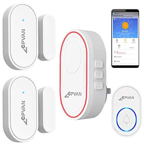 CPVAN Door Chime, 2.4G WiFi Door Window Alarm, DIY Home Security, 1 Base Station, 2 Door Sensors, 1 Door Chime Button, Mute/Chime/Alarm, for Home Kids/Elderly Safety/Garage, Compatible with Alexa.