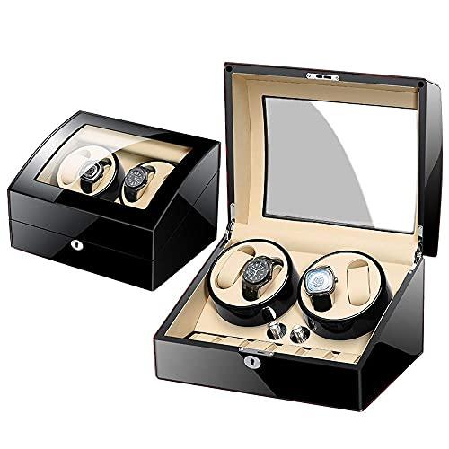 Enrolladores de reloj, enrollador de reloj giratorio automático con almacenamiento de cuero 4 + 6 (carcasa de madera + almohada de cuero + pintura de piano + vidrio templado), motor de Alemania / 100%