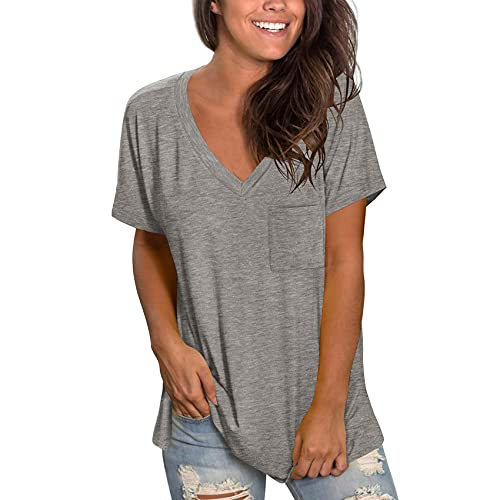 Jersey de Color sólido de Manga Corta con Cuello en V Bolsillo Dobladillo Abertura Suelta Camiseta Suelta Modal Femenino