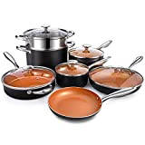 MICHELANGELO Copper Pots and Pans Set Nonstick 12 Piece, Ultra Nonstick Copper Cookware Set with...