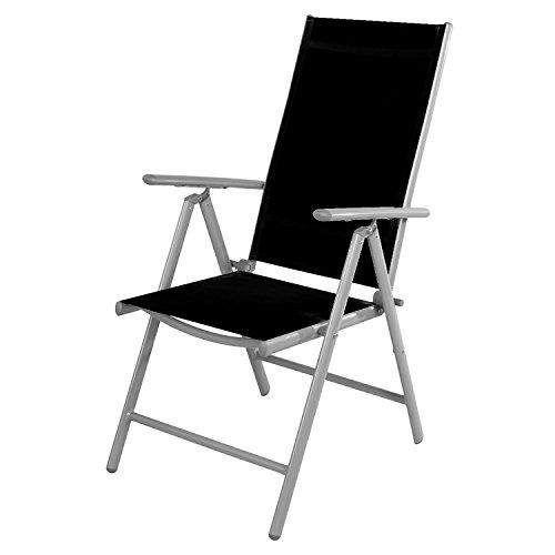 Mojawo Gartenstuhl - Hochlehner 7-Fach verstellbar - zusammenklappbar - Klappstuhl - witterungsbeständiges Aluminium - wetterfeste Gartenmöbel - Silber/Schwarz