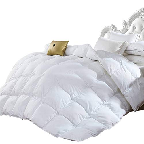 Grandeur Linen's Twin Size Luxurious 1200 Thread Count Goose Down Alternative Comforter, 100% Egyptian Cotton Cover, Solid White Color, 750 Fill Power, 50 Oz Fill Weight