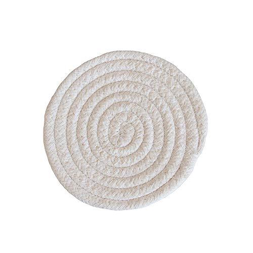 Manyao Handarbeit Baumwolle Seil Platzdeckchen Hand gesponnene Tischsets Servietten Geschirr Getränk Cup Coaster Isolierung Pad Küche Abendessen Wohnkultur (Color : White, Size : Round)