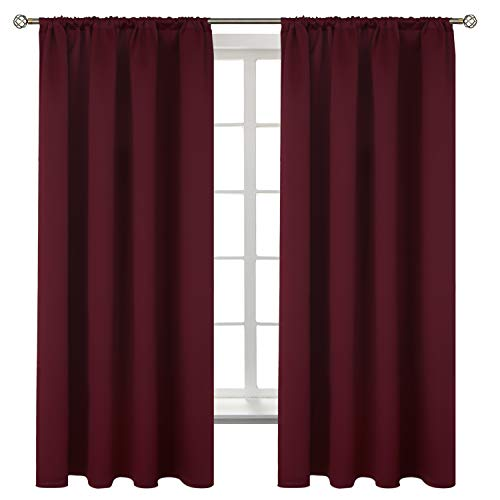 BGment Rod Pocket Blackout Curtains for Bedroom - Thermal Insulated Room Darkening Curtain for Living Room , 42 x 63 Inch, 2 Panels, Burgundy