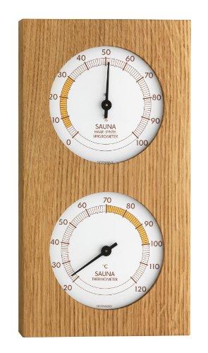 TFA Dostmann Analoges Sauna-Thermo-Hygrometer, mit Eichenrahmen, Temperatur, Luftfeuchtigkeit, hitzebeständig,L 130 x B 40 x H 242 mm