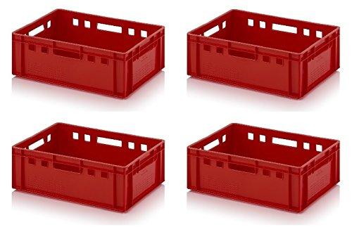 4x Fleischkiste E2 60x40x20 Metzgerkiste Eurofleischkiste rot inkl. Zollstock 4er Set
