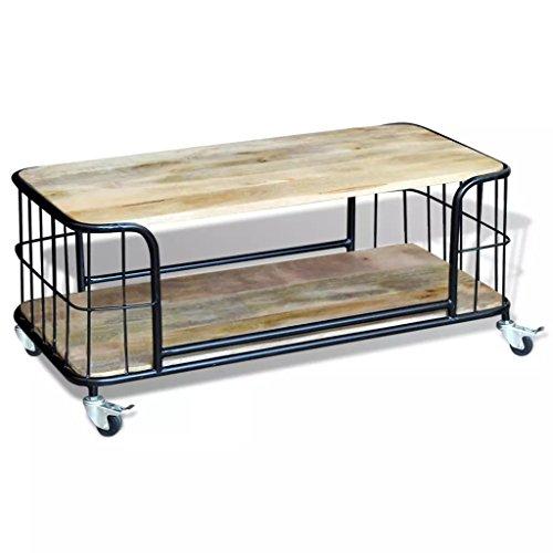 Table basse Lingjiu Shopping en bois massif recyclé 100 x 50 x 35 cm avec quatre roulettes Matière : Bois de manguier massif et fer.