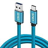 CBUS – Cable Trenzado USB-A a USB-C de Carga Rápida Compatible con iPad Air (2020), iPad Pro (2018/2020/2021), Samsung Galaxy Tab S7, S7 FE, S7+, S6 Lite, and Active Pro (3m, Azul)